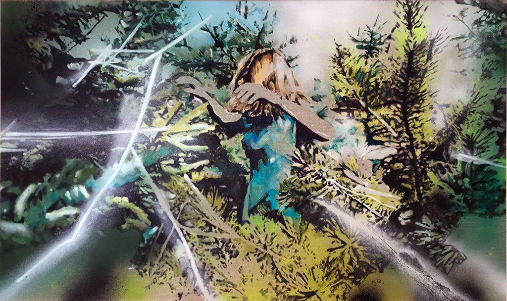 Katja Grandpierre | In the Branches | Acryl, Öl auf Leinwand | 60 x 100 cm | 2020
