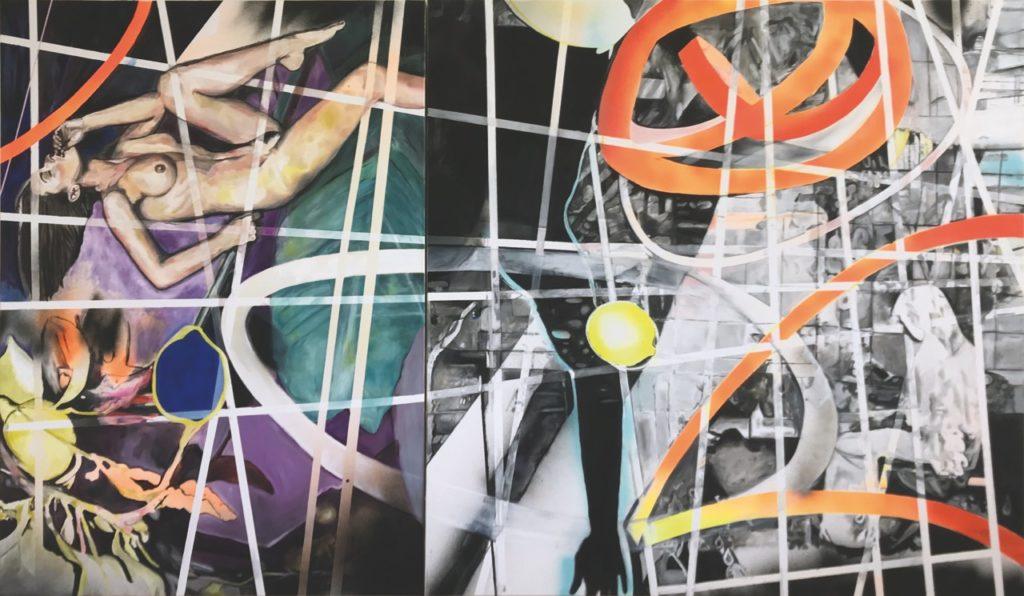 Katja Grandpierre | Multiverse | Acryl, Öl auf Leinwand | Diptychon 240 x 140 cm | 2019