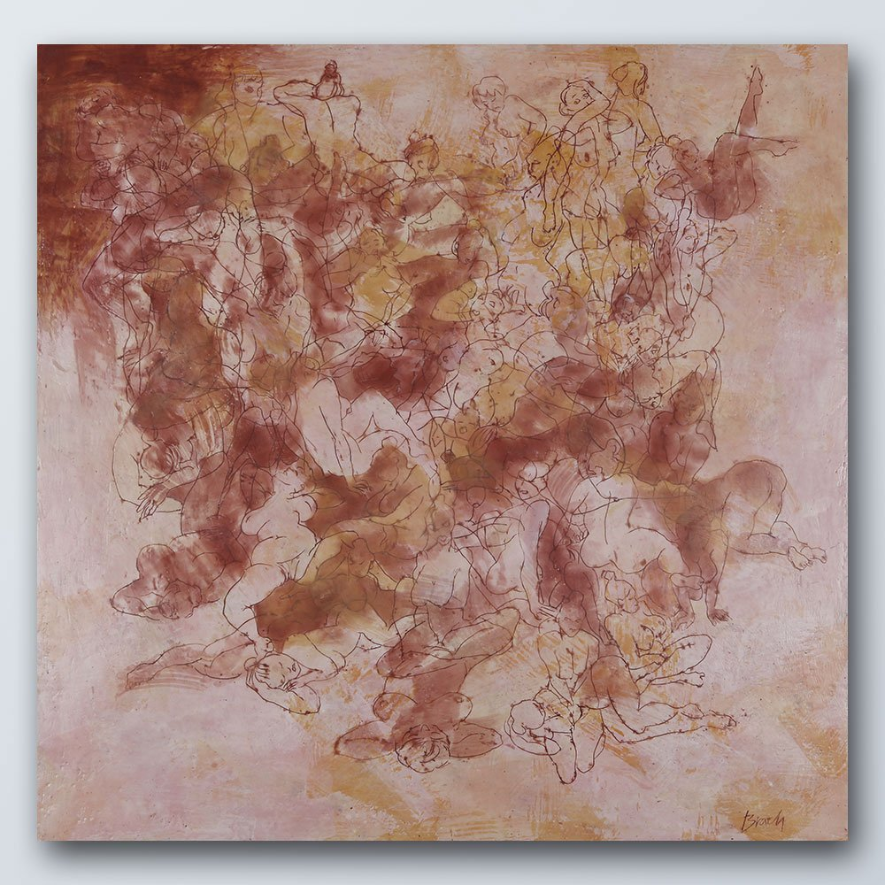 Heilvolles Durcheinander II | Wachs auf Holz | 100 x 100 cm | 2020
