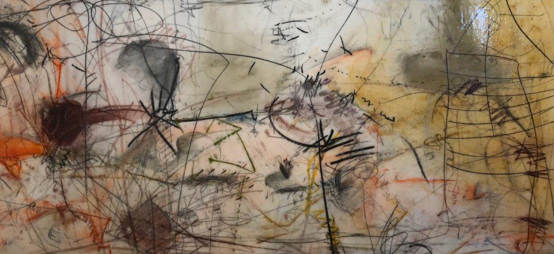 Andreas Kurus | Mixed Media unter Mehrschichtkunstharz auf Holz | 100 x 208 cm | 2019