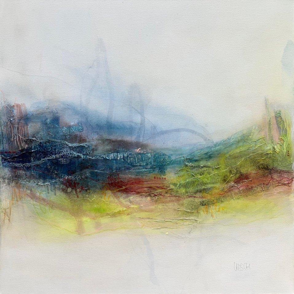 Kirsten Schankweiler | Picknick at the lake  | Mixed Media auf Leinwand | 80 x 80 cm | 2019