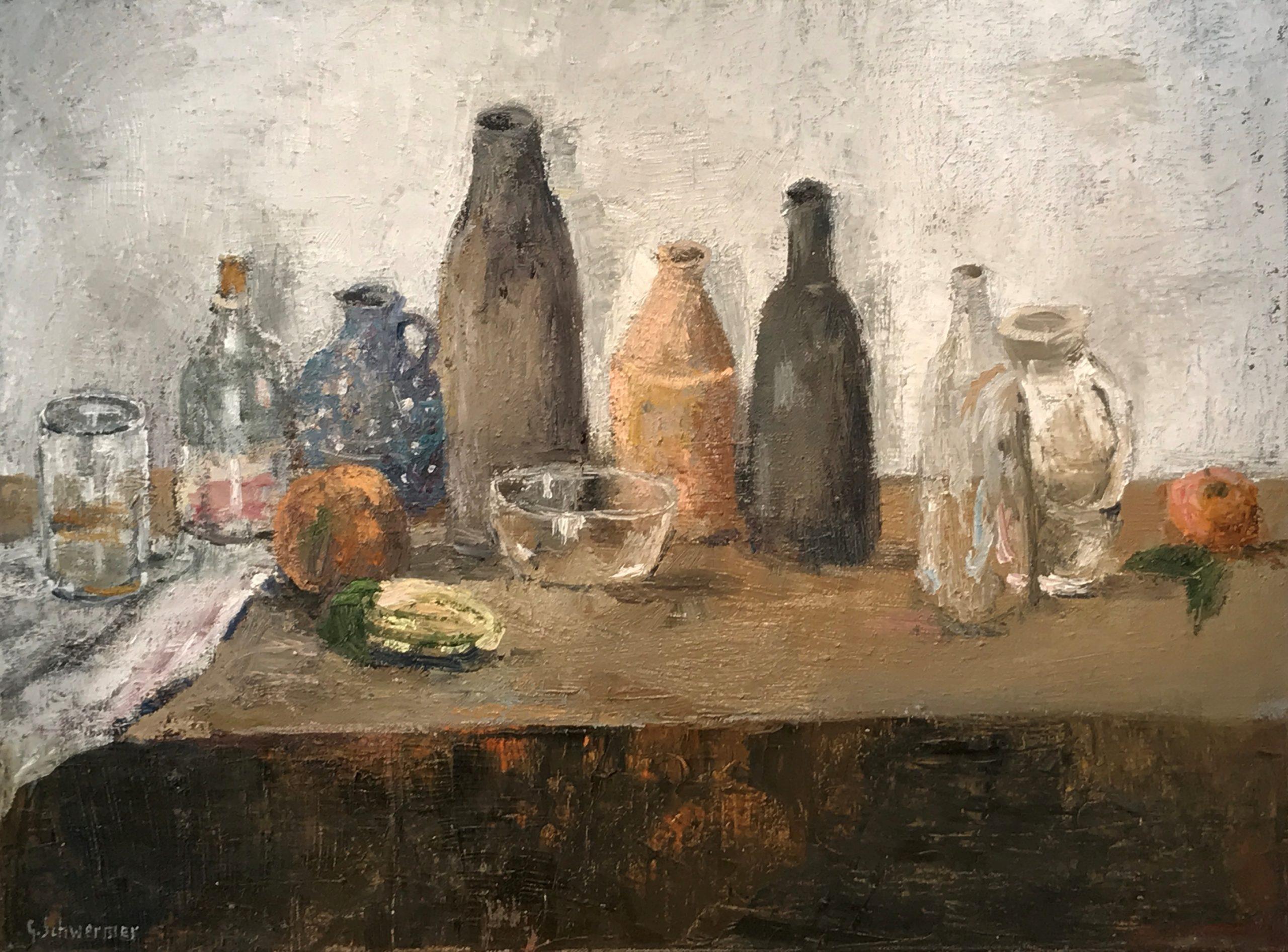 Gebhard Schwermer │Stillleben mit Flaschen und Früchten │Öl auf Leinwand │45 x 60 cm │o.J.