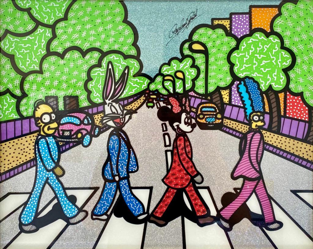 Raphael Gratzl | Abbey Road | Lack auf Glas, Glitzerstaub  | 60 x 70 cm | o.J.