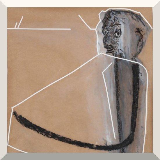 Sylvia von Bernstorff | o.T. | Tusche, Kohle, Kreide, Tape auf Papier | 100 x 80 cm | 2019