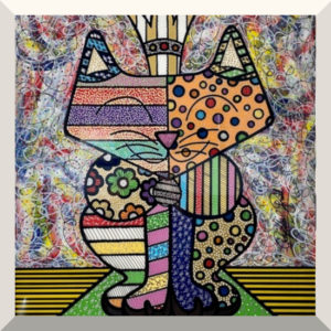 Raphael Gratzl | Royal Cat | Lack auf Glas, Glitzerstaub | 140 x 110 cm | o.J.