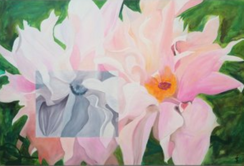 Ingrid Schiller | Feder-Aster mit Grau | Acryl, Öl auf Leinwand | 100 x 150 cm | 2019