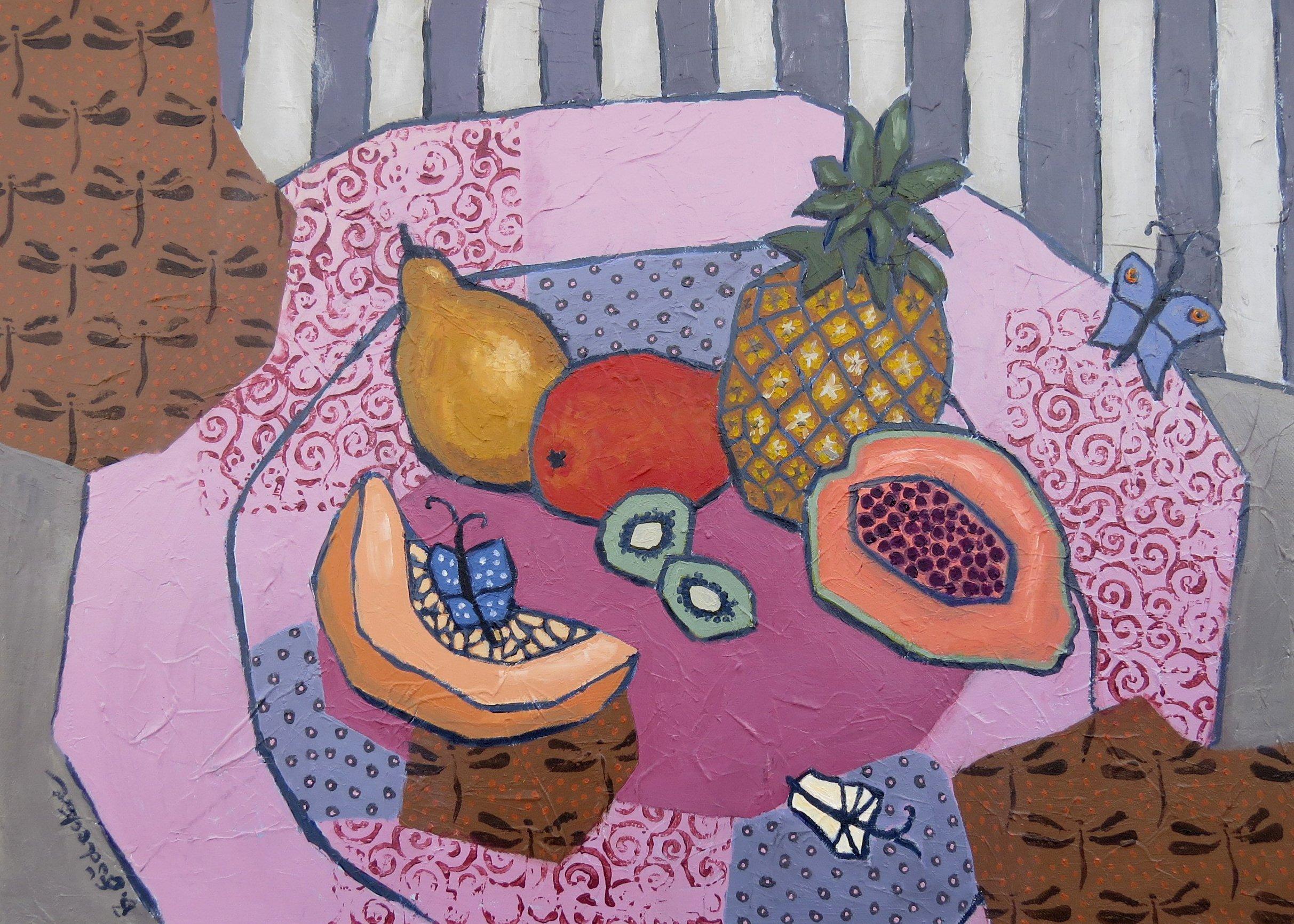 Gödecke_Beate_50x70_Schale mit Ananas und Papaya max super