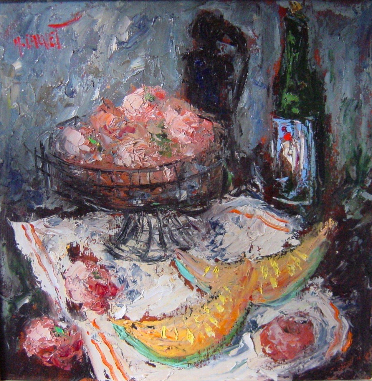 Michel Calvet / Stillleben / Öl auf Holz / 50 x 50 cm / o.J.