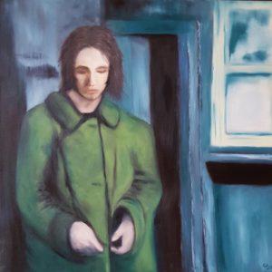 #21005 90x90 Die Frau im grünen Mantel